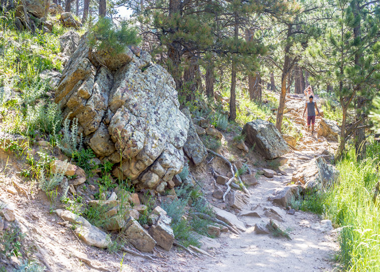 NCAR hike in Boulder CO, with people on the trail and beautiful rocks and light